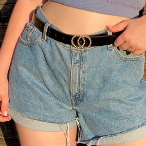 black leather pearl double circle buckle belt
